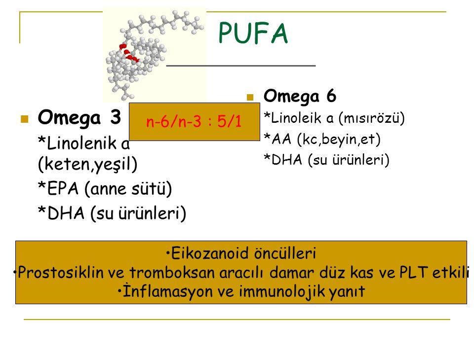 PUFA Omega 3 Omega 6 *Linolenik a (keten,yeşil) *EPA (anne sütü)