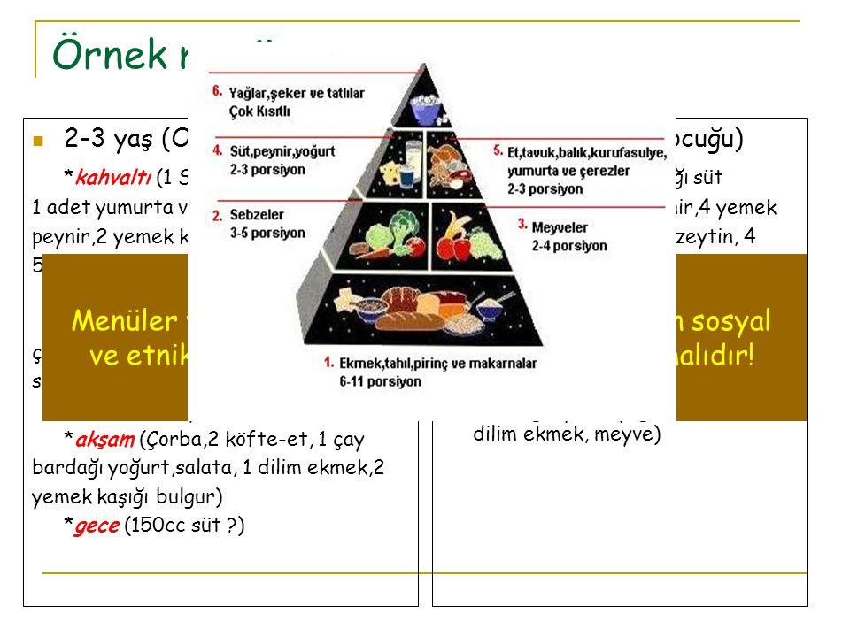 Örnek menü Menüler ve beslenme yönlendirmeleri toplumun sosyal