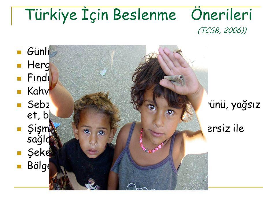 Türkiye İçin Beslenme Önerileri (TCSB, 2006))