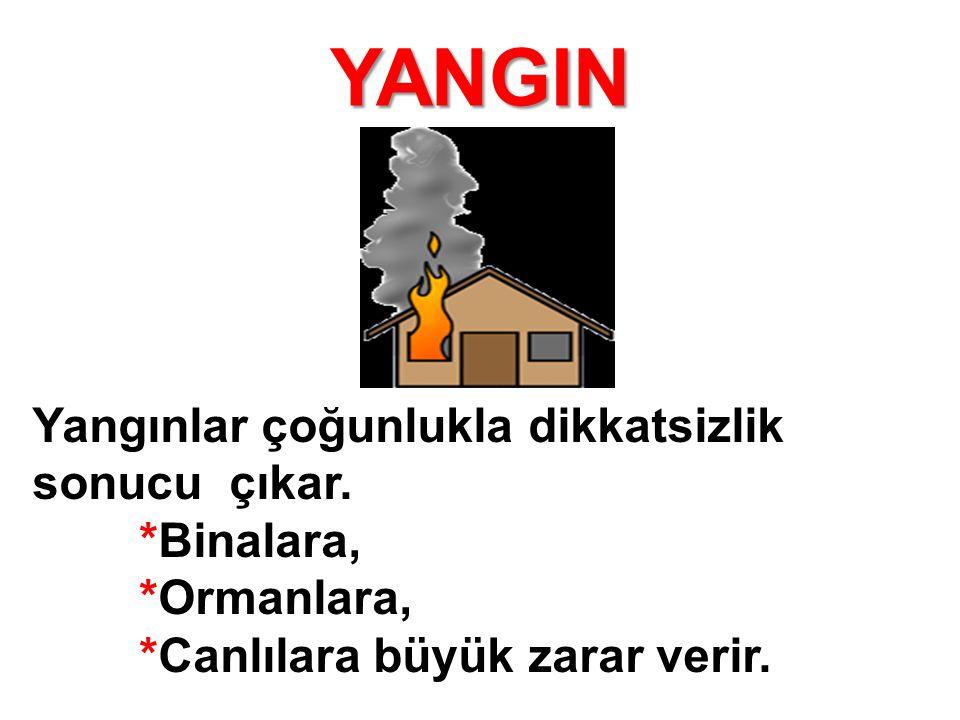 YANGIN Yangınlar çoğunlukla dikkatsizlik sonucu çıkar. *Binalara,
