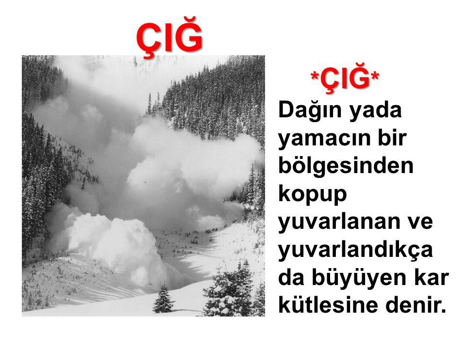 ÇIĞ *ÇIĞ* Dağın yada yamacın bir bölgesinden kopup yuvarlanan ve yuvarlandıkça da büyüyen kar kütlesine denir.