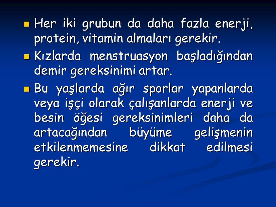 Her iki grubun da daha fazla enerji, protein, vitamin almaları gerekir.