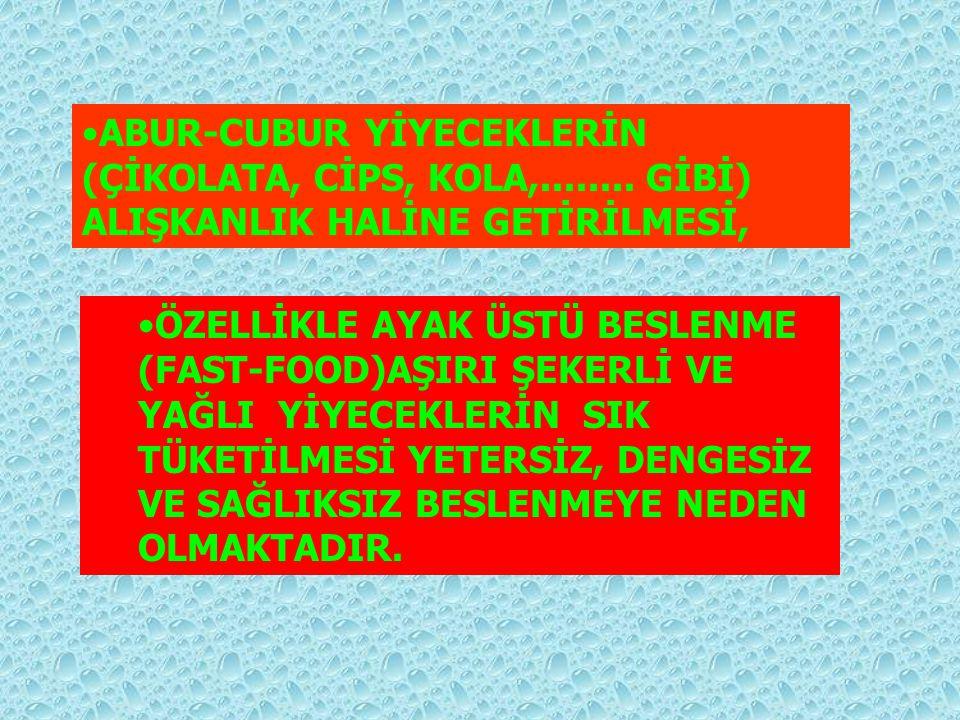 ABUR-CUBUR YİYECEKLERİN (ÇİKOLATA, CİPS, KOLA,