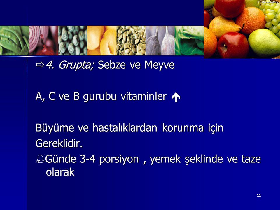 4. Grupta; Sebze ve Meyve