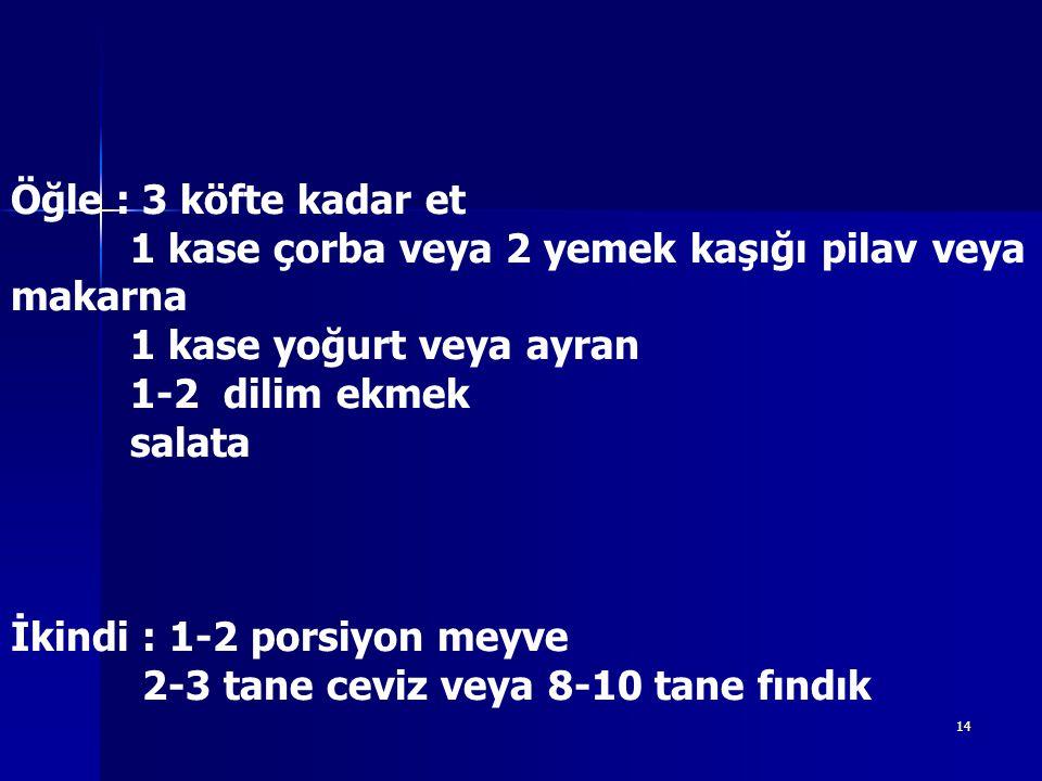 İkindi : 1-2 porsiyon meyve 2-3 tane ceviz veya 8-10 tane fındık