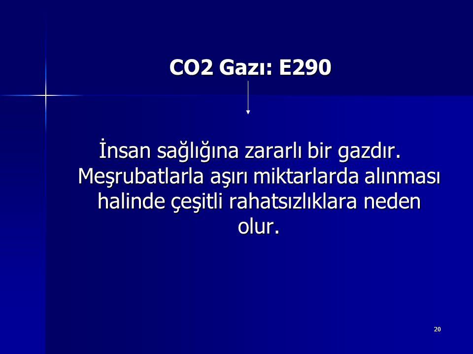 CO2 Gazı: E290 İnsan sağlığına zararlı bir gazdır.