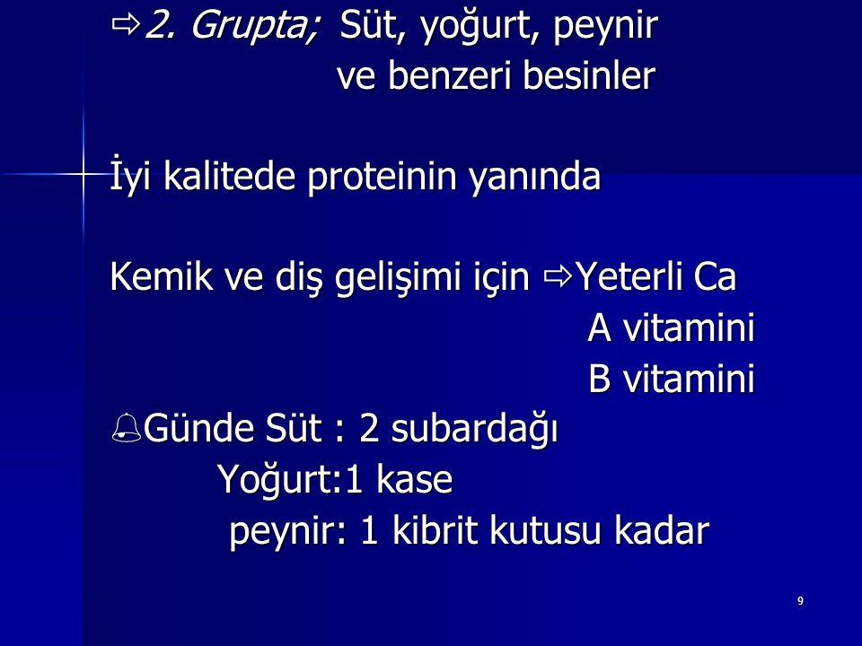 2. Grupta; Süt, yoğurt, peynir