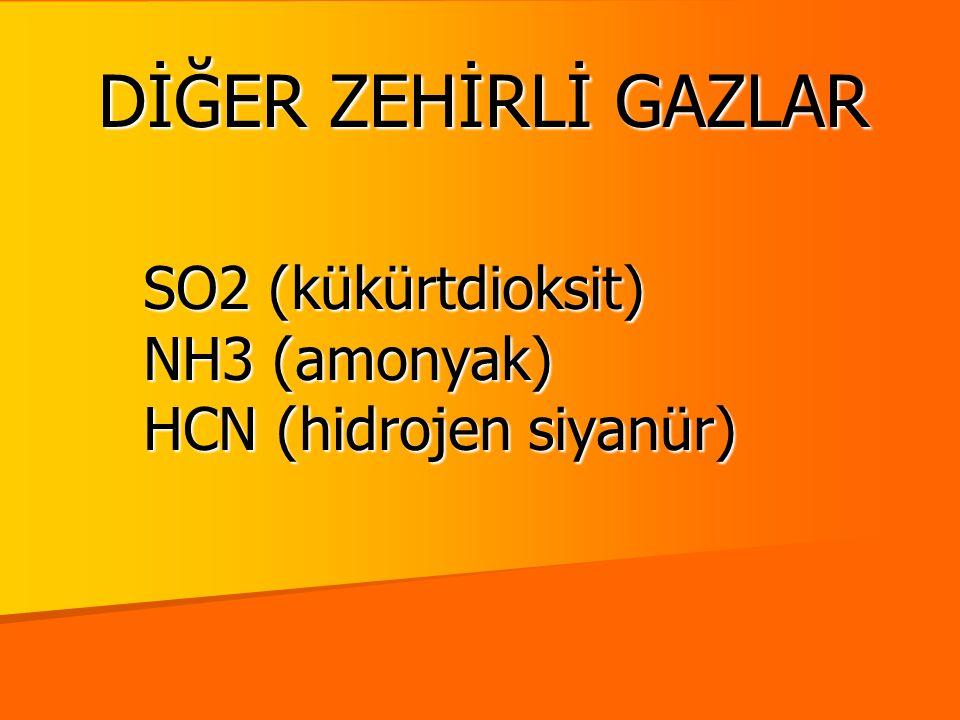 SO2 (kükürtdioksit) NH3 (amonyak) HCN (hidrojen siyanür)