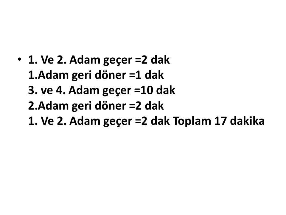 1. Ve 2. Adam geçer =2 dak 1. Adam geri döner =1 dak 3. ve 4