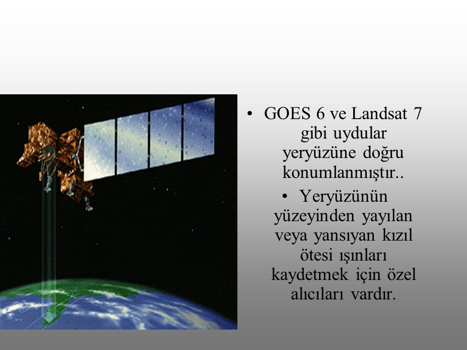 GOES 6 ve Landsat 7 gibi uydular yeryüzüne doğru konumlanmıştır..