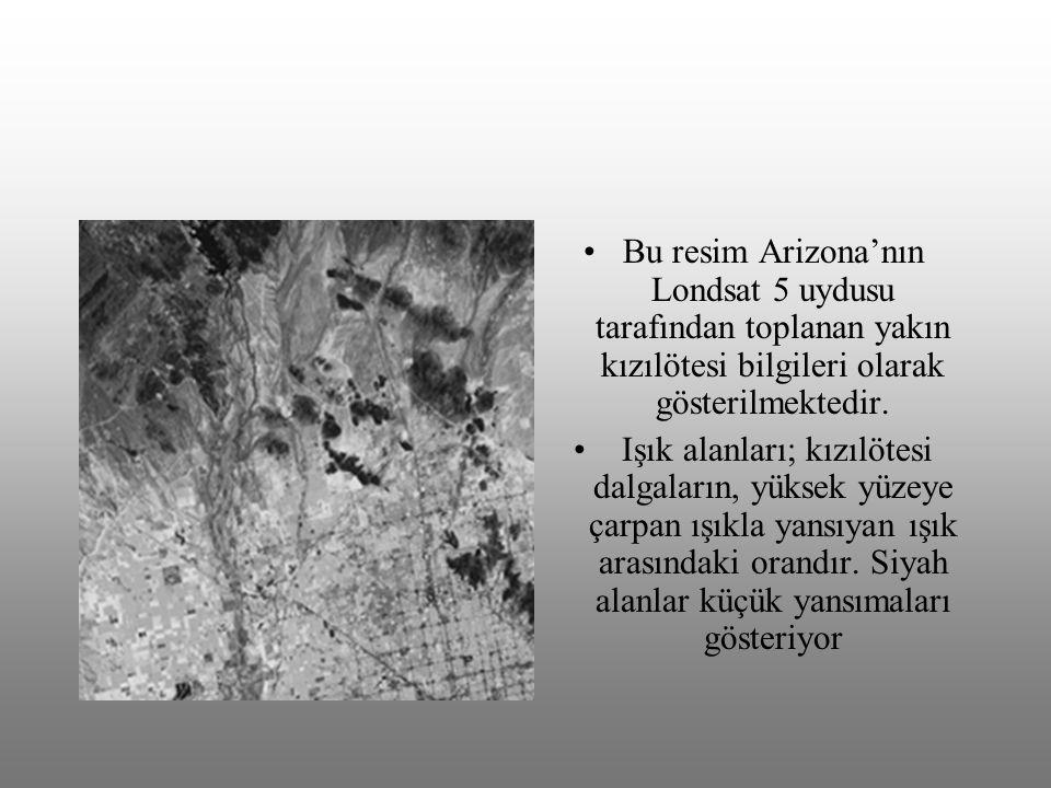 Bu resim Arizona'nın Londsat 5 uydusu tarafından toplanan yakın kızılötesi bilgileri olarak gösterilmektedir.