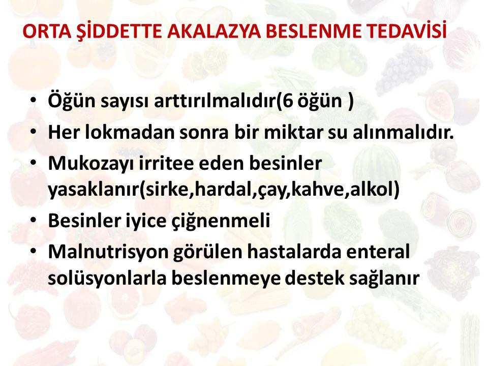 ORTA ŞİDDETTE AKALAZYA BESLENME TEDAVİSİ