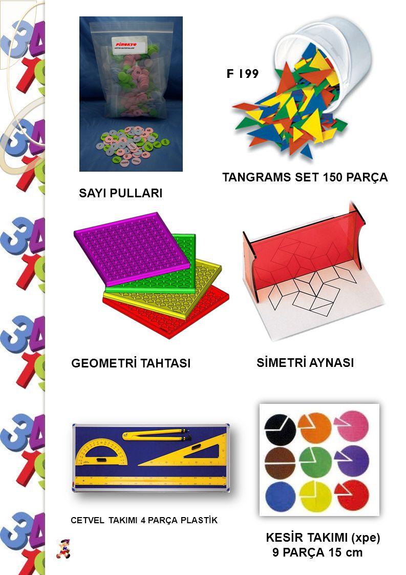 F 199 TANGRAMS SET 150 PARÇA SAYI PULLARI GEOMETRİ TAHTASI