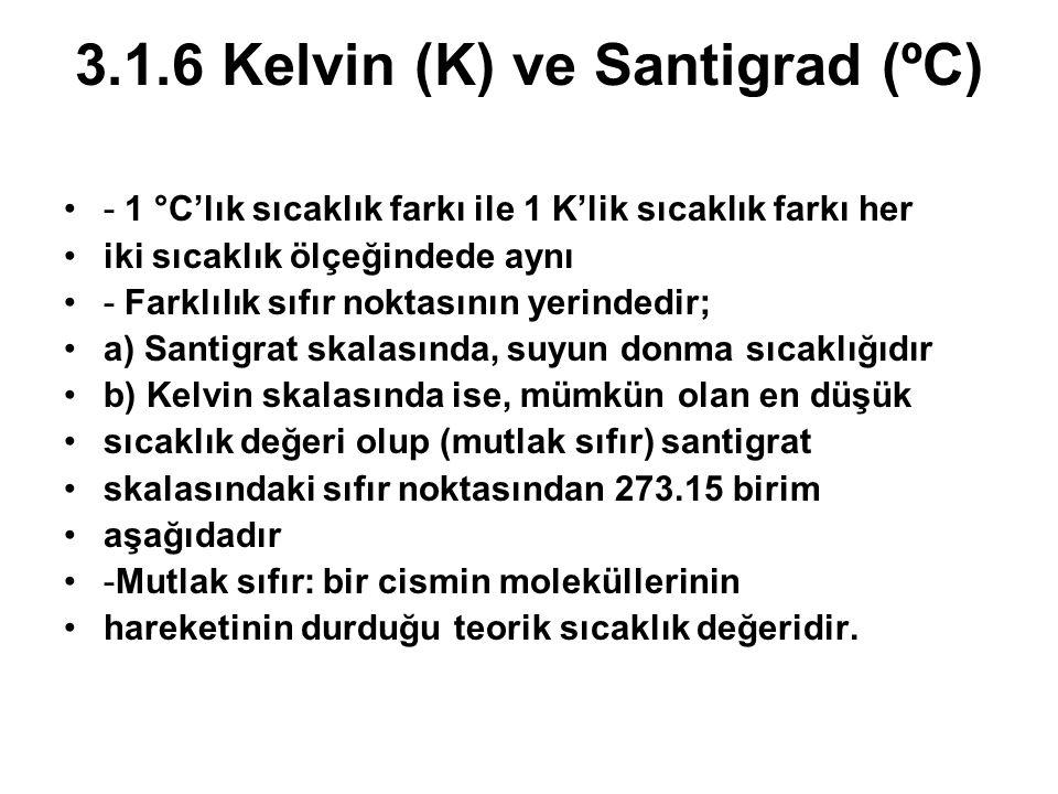 3.1.6 Kelvin (K) ve Santigrad (ºC)