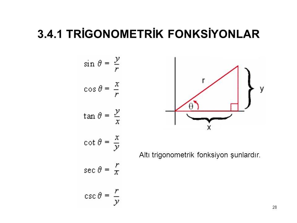 3.4.1 TRİGONOMETRİK FONKSİYONLAR