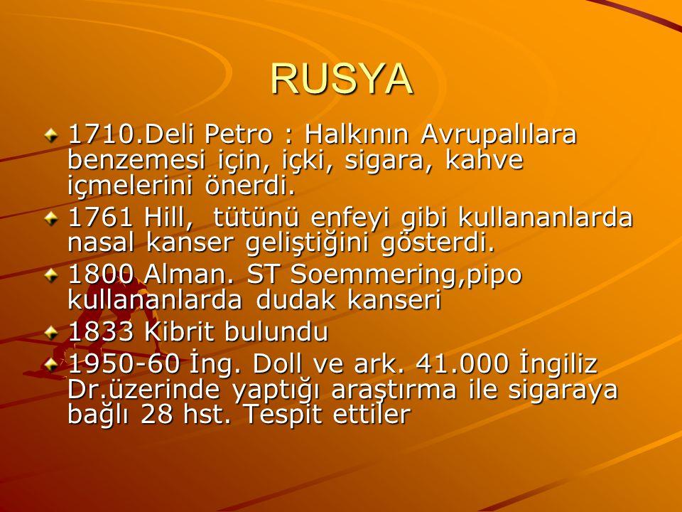 RUSYA 1710.Deli Petro : Halkının Avrupalılara benzemesi için, içki, sigara, kahve içmelerini önerdi.