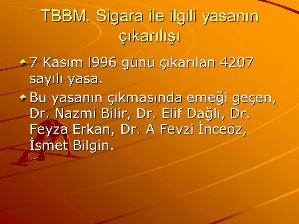 TBBM. Sigara ile ilgili yasanın çıkarılışı
