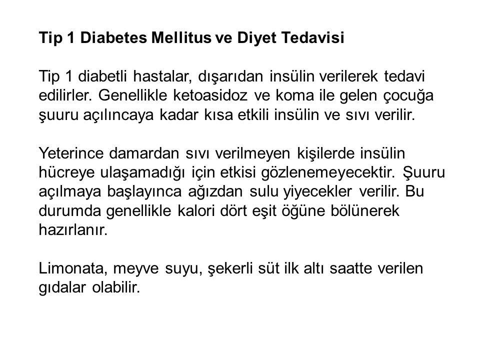 Tip 1 Diabetes Mellitus ve Diyet Tedavisi