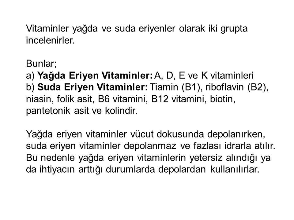Vitaminler yağda ve suda eriyenler olarak iki grupta incelenirler.