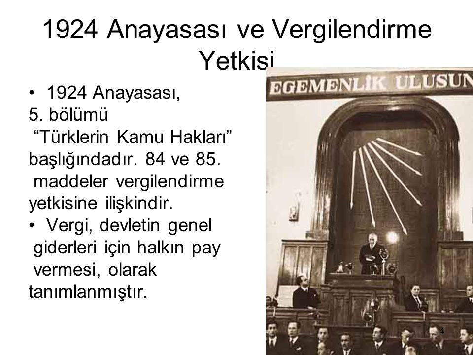 1924 Anayasası ve Vergilendirme Yetkisi