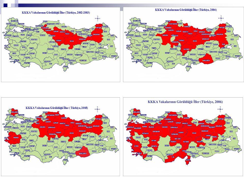 KKKA Vakalarının Görüldüğü İller (Türkiye, 2004)