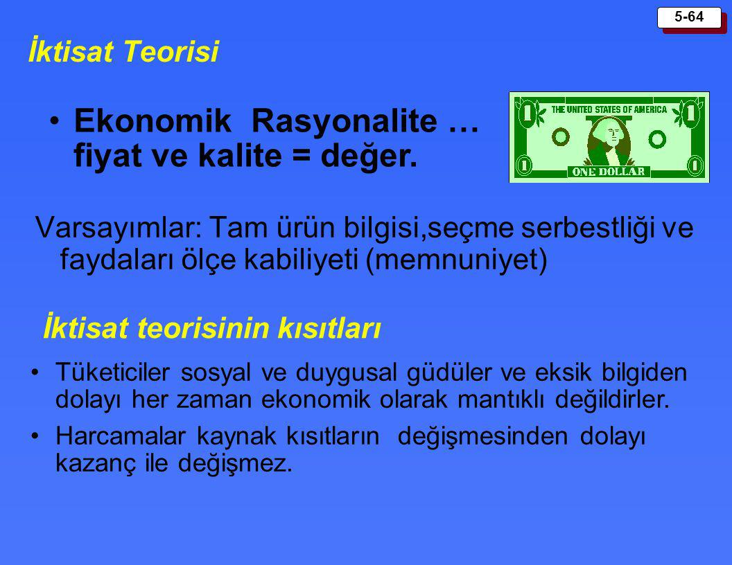 Ekonomik Rasyonalite … fiyat ve kalite = değer.