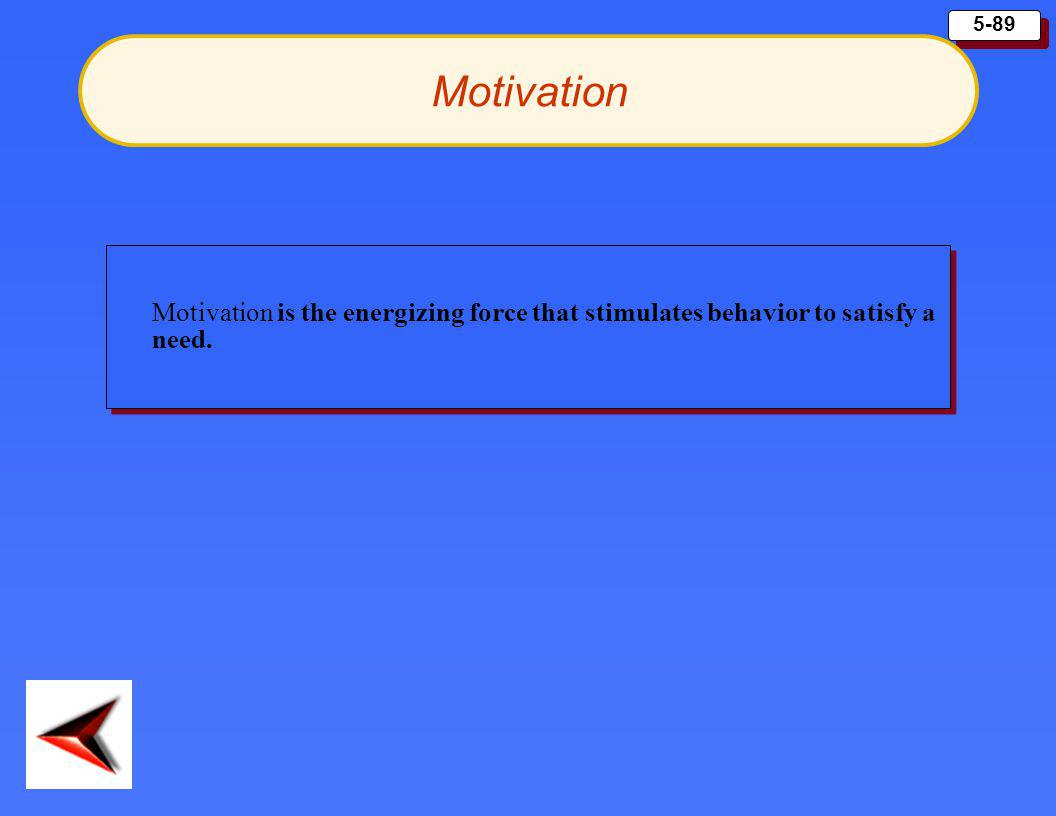 Motivation Motivation is the energizing force that stimulates behavior to satisfy a need.