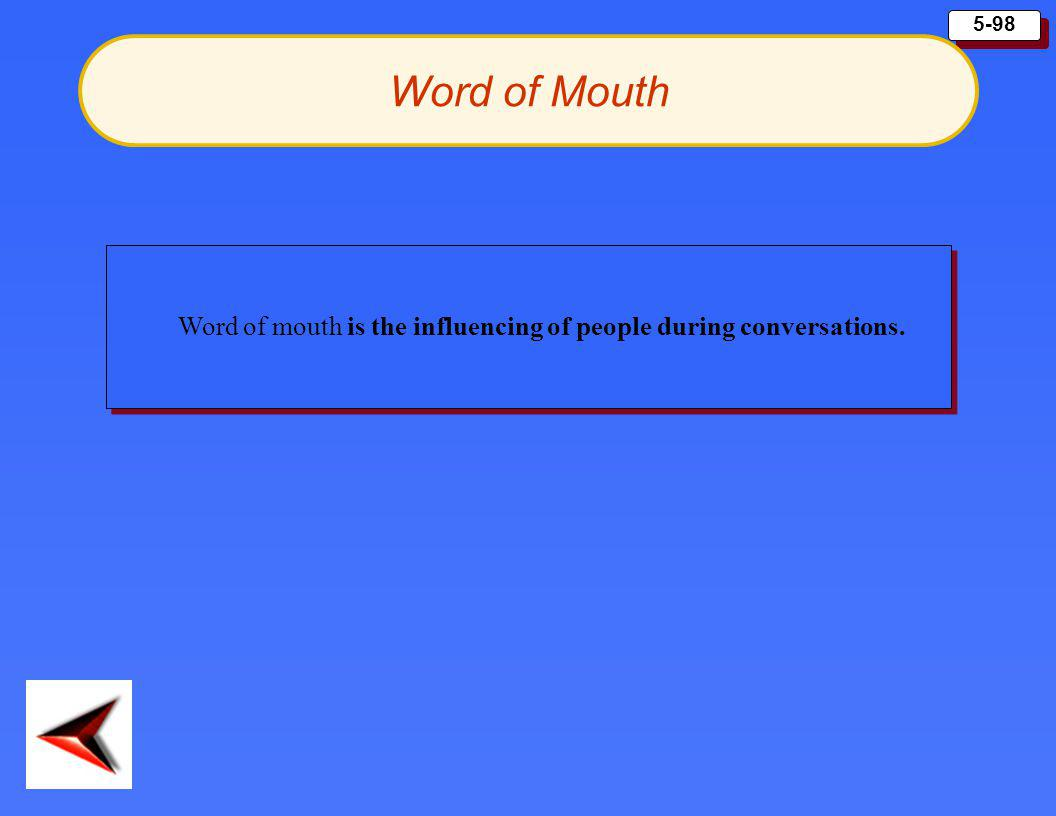 Word of Mouth Word of mouth is the influencing of people during conversations.