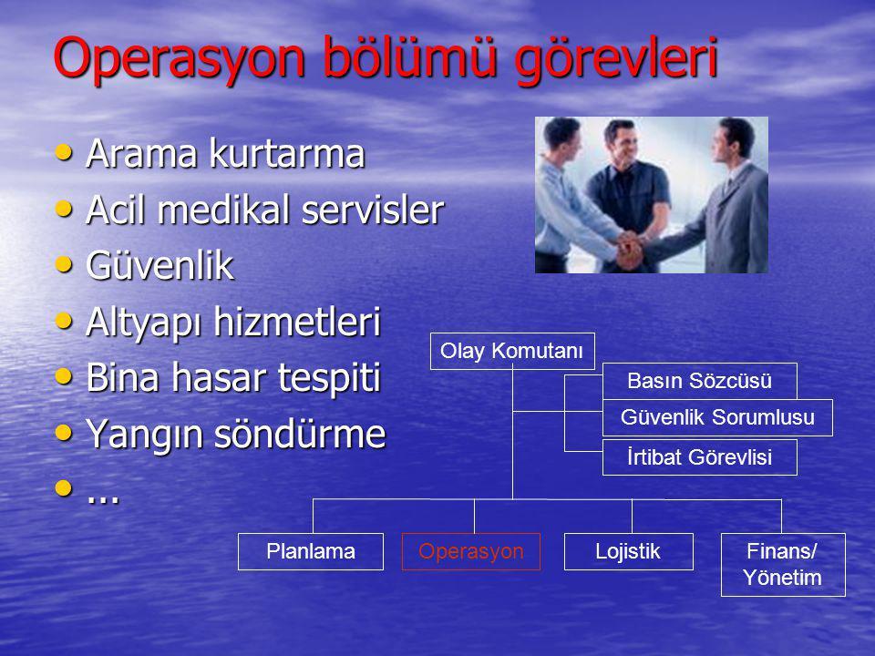 Operasyon bölümü görevleri