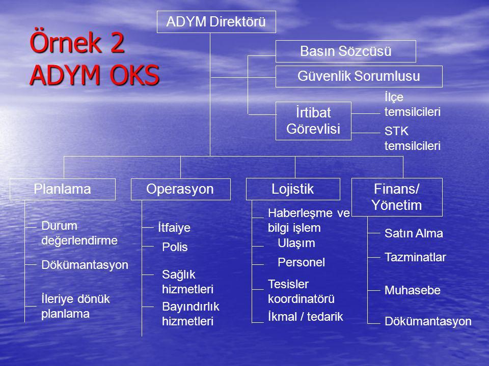 Örnek 2 ADYM OKS ADYM Direktörü Planlama Operasyon Lojistik Finans/