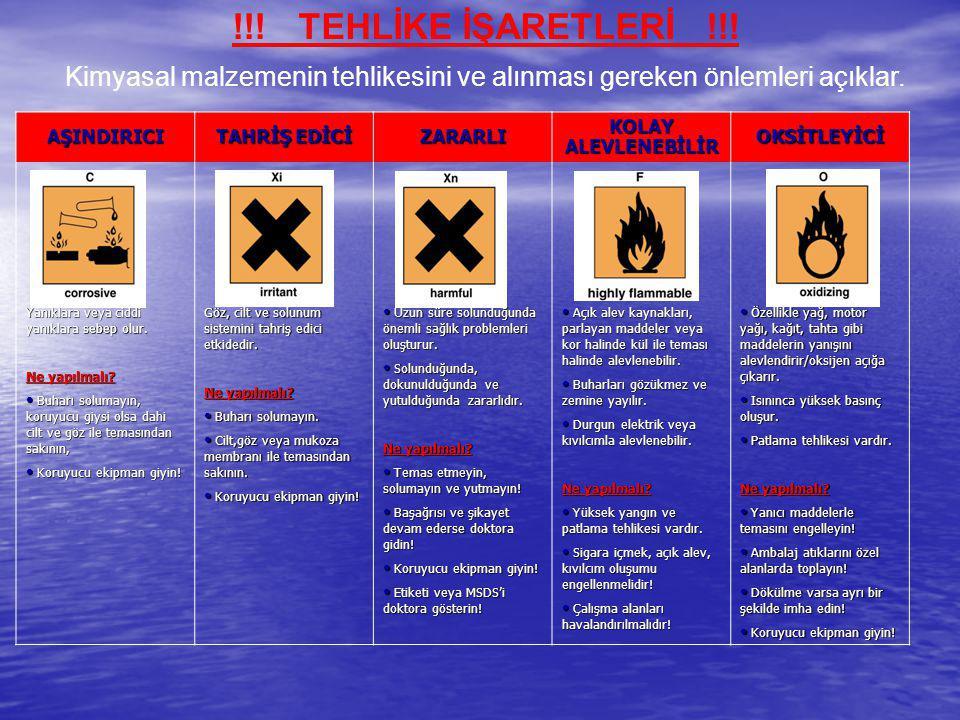 Kimyasal malzemenin tehlikesini ve alınması gereken önlemleri açıklar.
