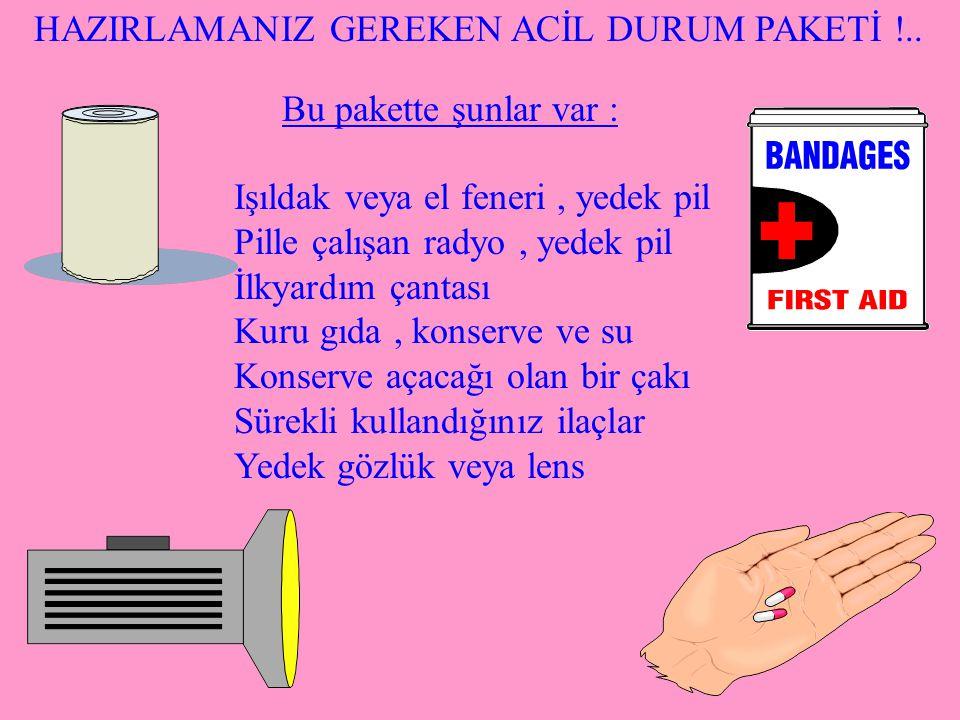 HAZIRLAMANIZ GEREKEN ACİL DURUM PAKETİ !..