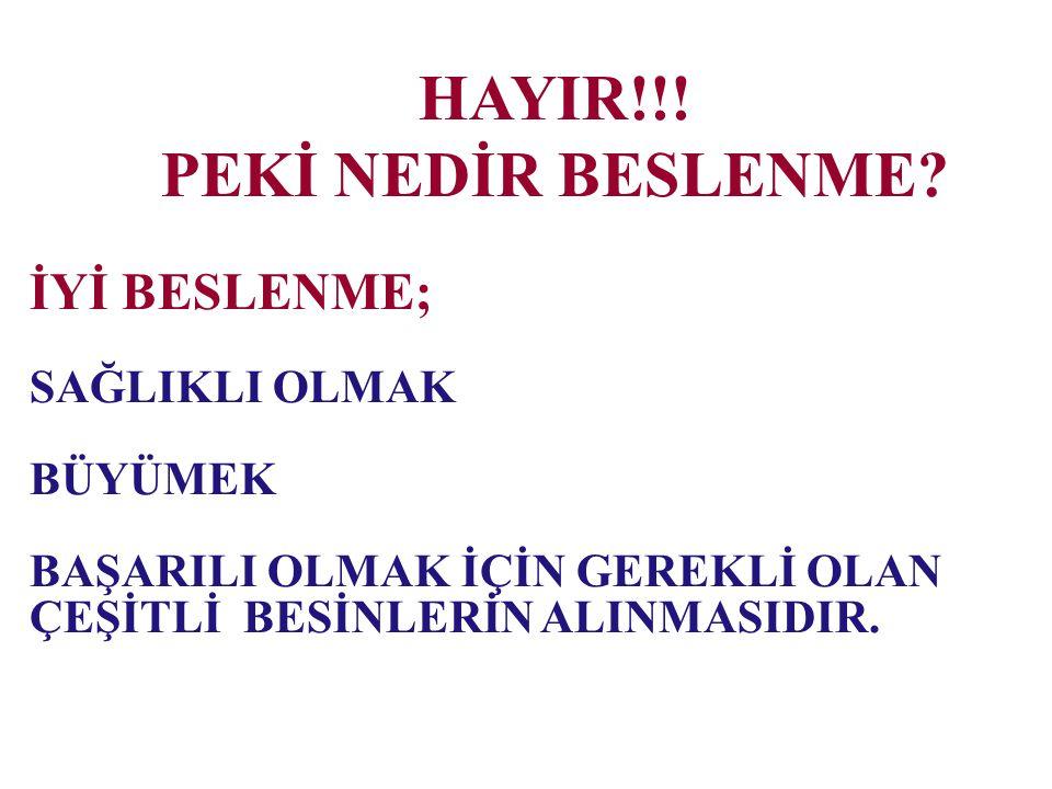 HAYIR!!! PEKİ NEDİR BESLENME