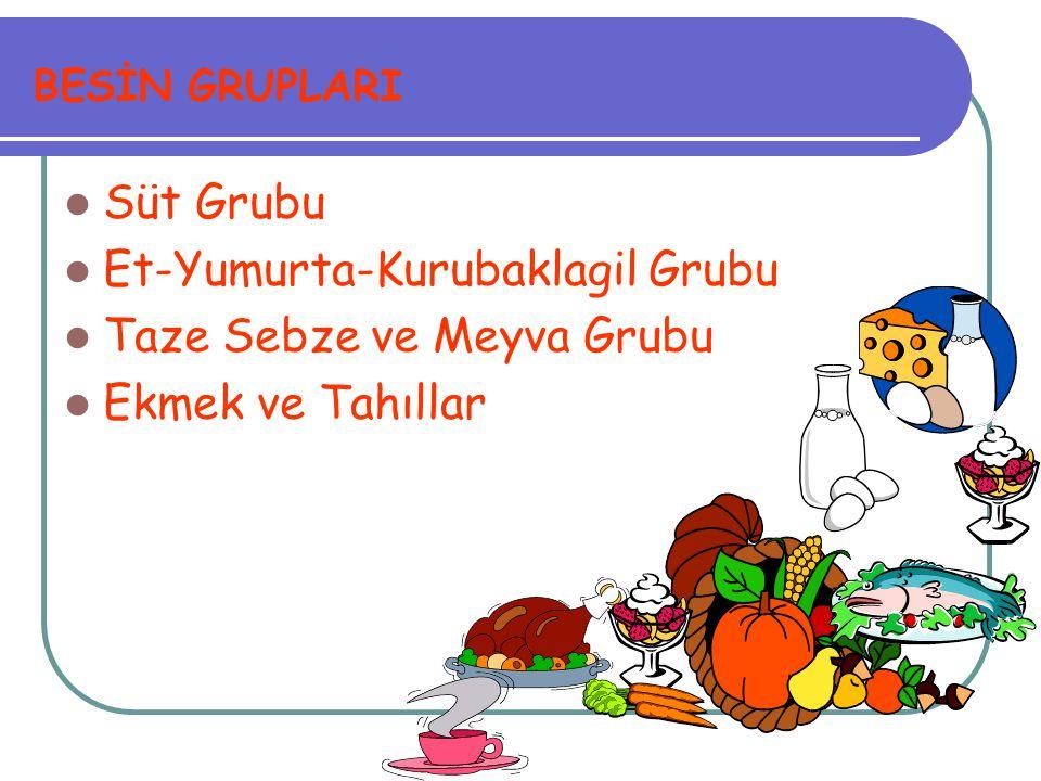 Et-Yumurta-Kurubaklagil Grubu Taze Sebze ve Meyva Grubu