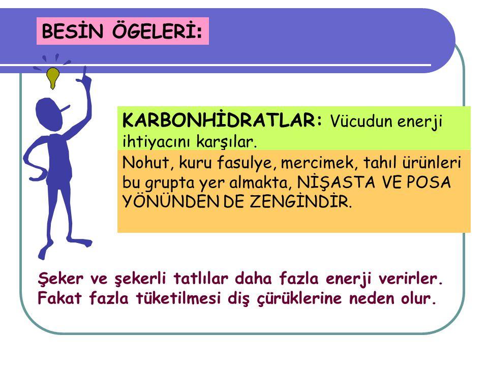 KARBONHİDRATLAR: Vücudun enerji ihtiyacını karşılar.