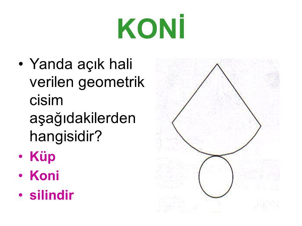 KONİ Yanda açık hali verilen geometrik cisim aşağıdakilerden hangisidir Küp Koni silindir