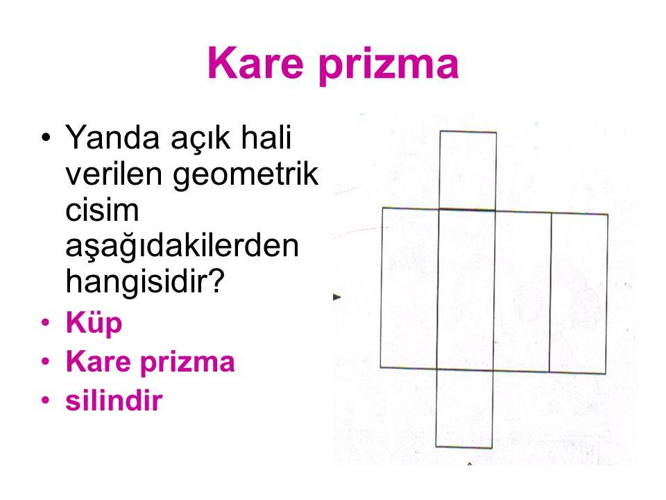 Kare prizma Yanda açık hali verilen geometrik cisim aşağıdakilerden hangisidir Küp. Kare prizma.