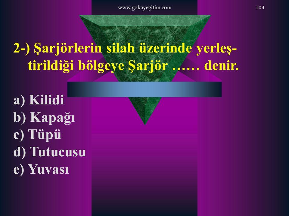 www.gokayegitim.com 2-) Şarjörlerin silah üzerinde yerleş-tirildiği bölgeye Şarjör …… denir. a) Kilidi.