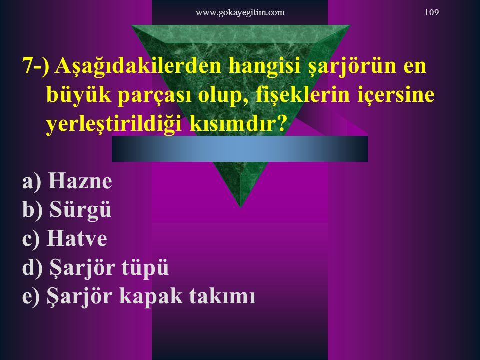 www.gokayegitim.com 7-) Aşağıdakilerden hangisi şarjörün en büyük parçası olup, fişeklerin içersine yerleştirildiği kısımdır