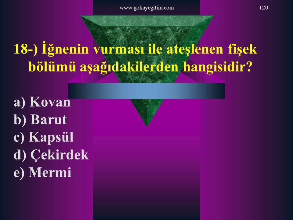 www.gokayegitim.com 18-) İğnenin vurması ile ateşlenen fişek bölümü aşağıdakilerden hangisidir a) Kovan.