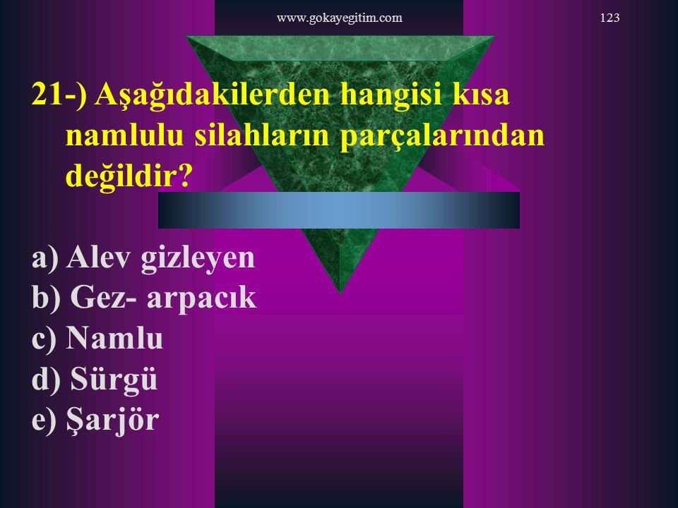 www.gokayegitim.com 21-) Aşağıdakilerden hangisi kısa namlulu silahların parçalarından değildir a) Alev gizleyen.