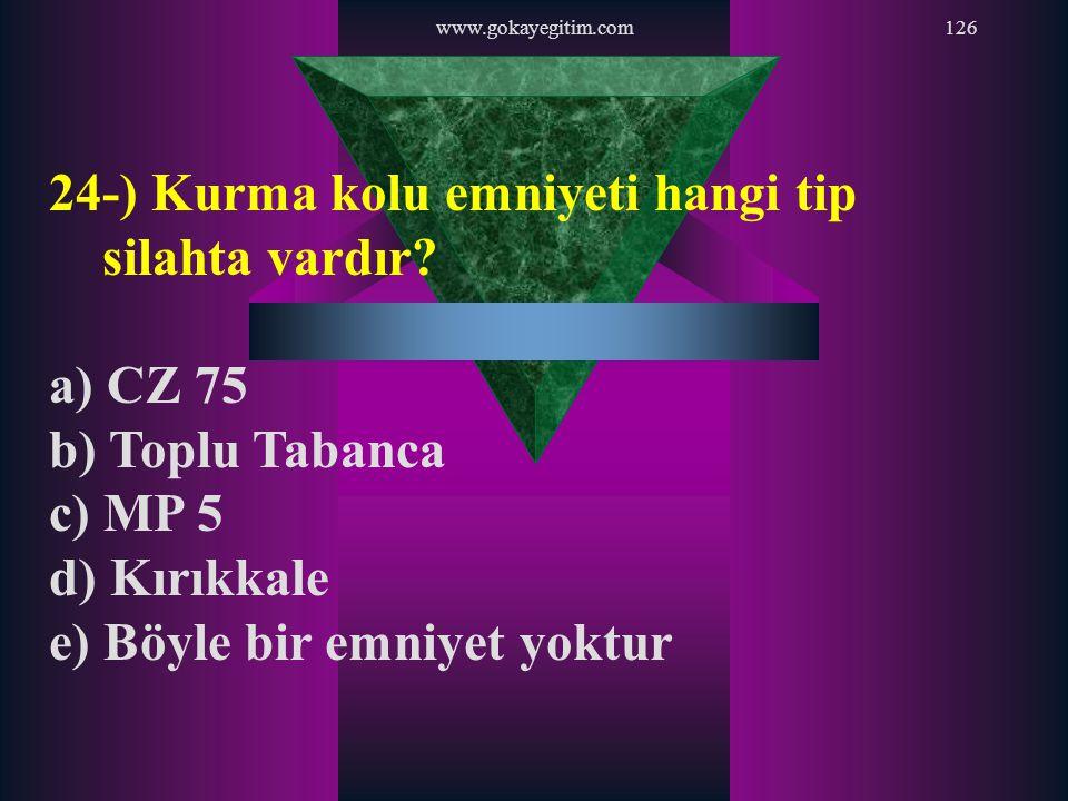 24-) Kurma kolu emniyeti hangi tip silahta vardır