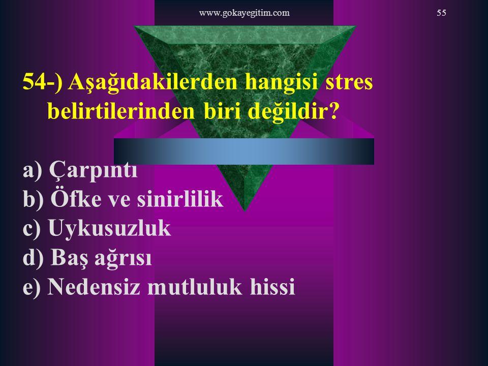 54-) Aşağıdakilerden hangisi stres belirtilerinden biri değildir
