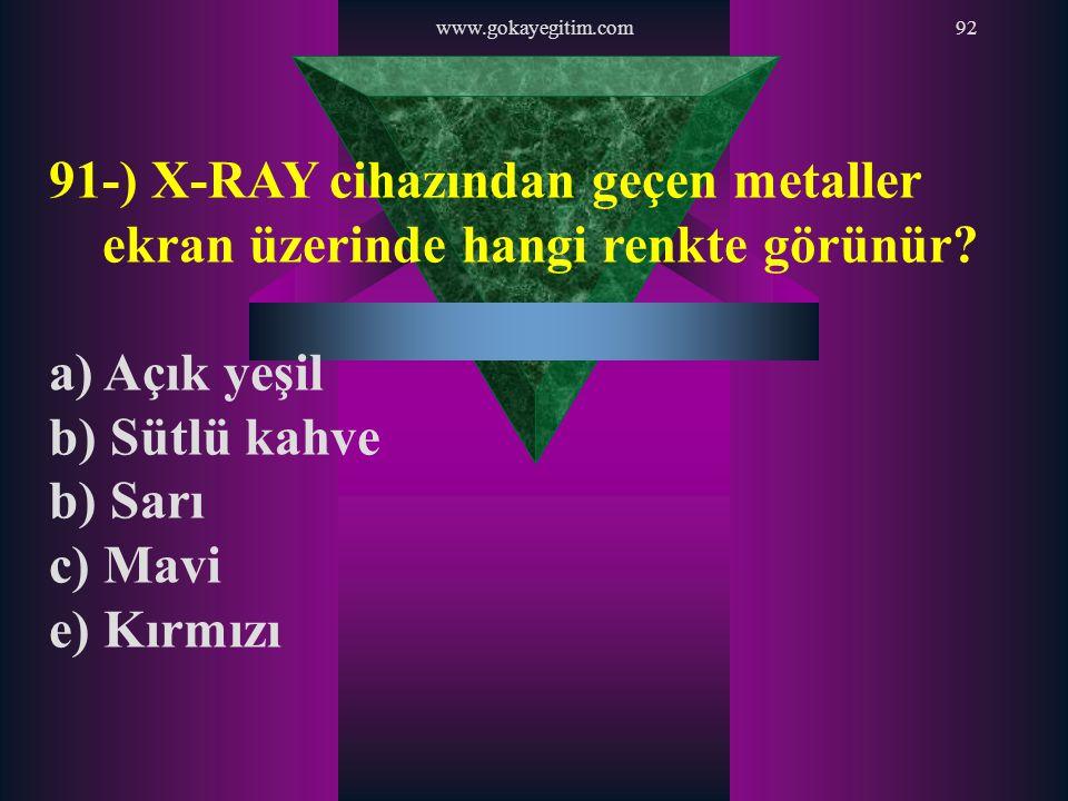 www.gokayegitim.com 91-) X-RAY cihazından geçen metaller ekran üzerinde hangi renkte görünür a) Açık yeşil.