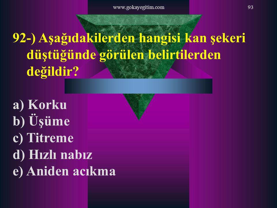 www.gokayegitim.com 92-) Aşağıdakilerden hangisi kan şekeri düştüğünde görülen belirtilerden değildir