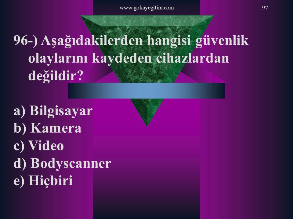 www.gokayegitim.com 96-) Aşağıdakilerden hangisi güvenlik olaylarını kaydeden cihazlardan değildir