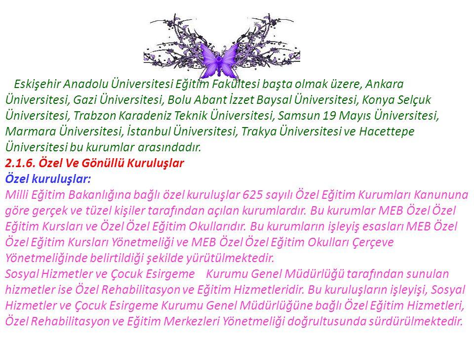 Eskişehir Anadolu Üniversitesi Eğitim Fakültesi başta olmak üzere, Ankara