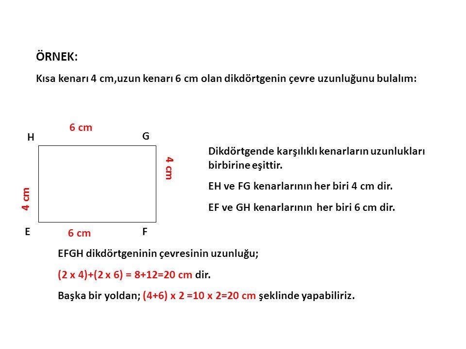 ÖRNEK: Kısa kenarı 4 cm,uzun kenarı 6 cm olan dikdörtgenin çevre uzunluğunu bulalım: 6 cm. E. F.