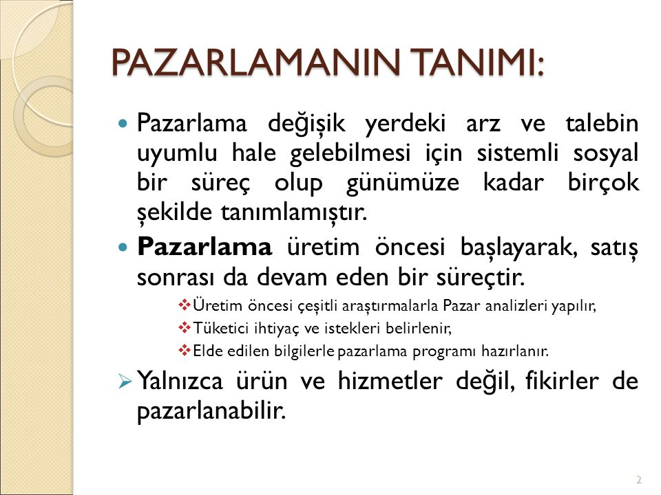 PAZARLAMANIN TANIMI: