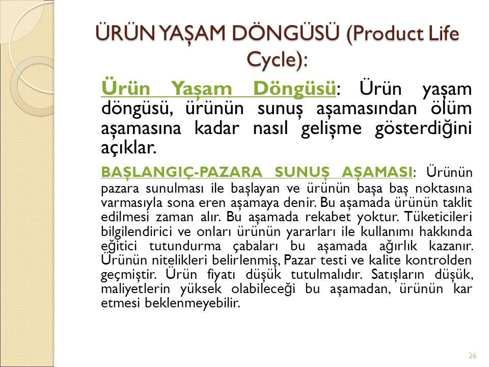 ÜRÜN YAŞAM DÖNGÜSÜ (Product Life Cycle):